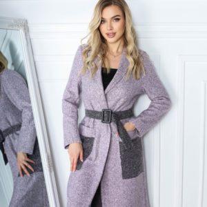 Купить пудра пальто для женщин с контрастными карманами и поясом (размер 42-56) онлайн