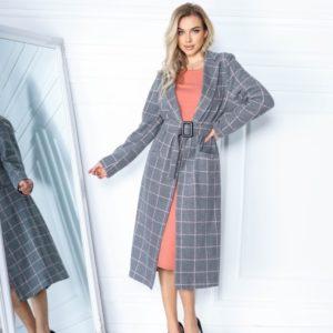 Заказать женское пальто в клетку серое из кашемира с шерстью (размер 42-56) онлайн