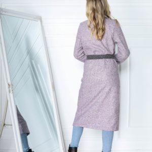 Приобрести по низким ценам женский пальто с контрастными карманами и поясом цвета пудра (размер 42-56)
