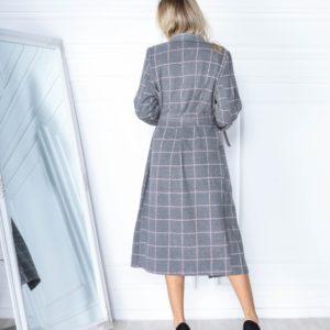Приобрести недорого женское пальто в клетку из кашемира с шерстью (размер 42-56) серого цвета