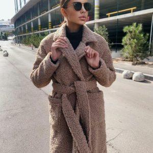 Заказать цвета мокко пальто барашек женское с поясом на подкладке в Украине