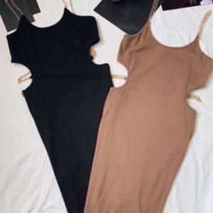 Заказать мокко, черное обтягивающее трикотажное платье для женщин на цепочках дешево