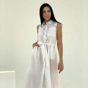 Заказать белое льняное платье для женщин -рубашка миди с поясом в Украине