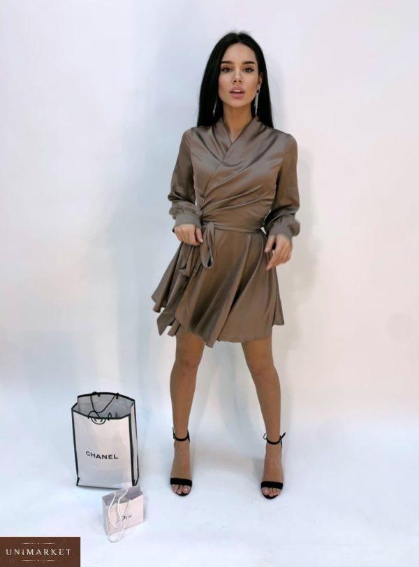 Купить шелковое женское платье цвета мокко мини с длинным рукавом в Украине