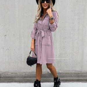 Приобрести лиловое платье-рубашка недорого на пуговицах с поясом (размер 42-56) для женщин