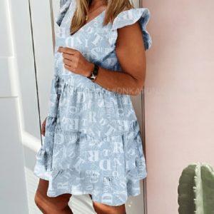 Приобрести дешево принтованное женское летнее платье с рюшами (размер 42-56) голубого цвета