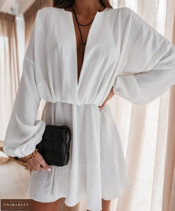 Купить белое летнее платье для женщин из жатки с длинным рукавом (размер 42-56) недорого