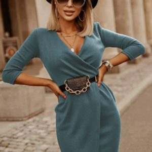 Заказать оливкового цвета женское платье мини на запах с рукавом 3/4 (размер 42-56) выгодно