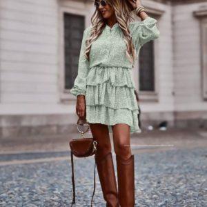 Заказать ментоловое женское платье мини с принтом и рюшами (размер 42-56) по скидке