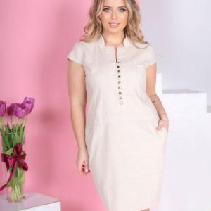 Купить бежевое лаконичное женское платье из натурального льна (размер 42-56) по низким ценам