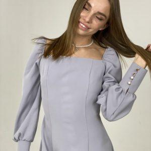 Купить серое женское Платье миди с разрезом и длинным рукавом в интернет-магазине