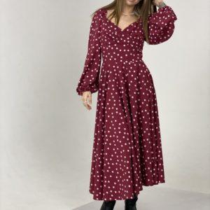 Заказать женское платье цвета марсала в горошек онлайн длины миди