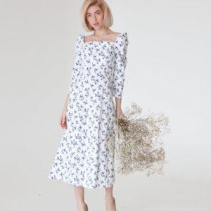 Купить недорого элегантное белое платье миди в цветочек (размер 40-50) для женщин