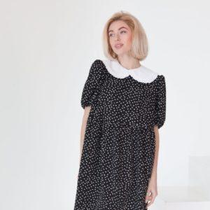Купить по скидке платье оверсайз черное в горошек с воротником (размер 42-58) для женщин