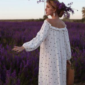 Заказать платье-рубашка белое макси в горошек онлайн для женщин