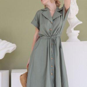 Заказать женское платье-рубашка цвета оливка из льна длины миди в Украине
