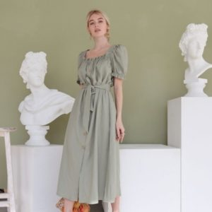 Купить недорого платье миди цвета оливка из льна с рукавами-фонариками для женщин