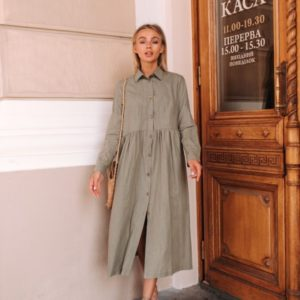 Купить оливковое свободное платье для женщин -рубашка с длинным рукавом по скидке