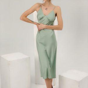 Купить фисташка платье для женщин комбинация из искусственного шелка недорого