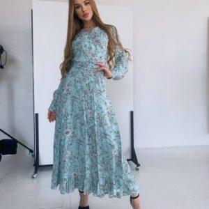 Заказать голубое женское цветочное платье из натурального штапеля (размер 42-48) недорого