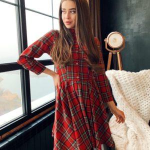 Купить выгодно красное платье в клетку А-силуэта для женщин
