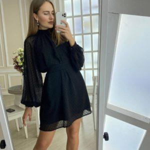 Купить черное закрытое женское свободное платье мини в горошек в интернете