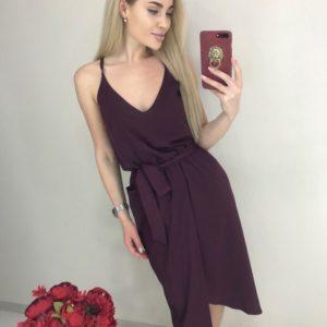 Заказать цвета марсала однотонное асимметричное женское платье на бретельках по скидке