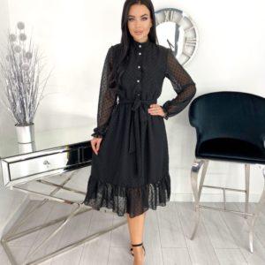 Заказать недорого женское платье из структурного шифона с длинным рукавом (размер 42-48) черного цвета