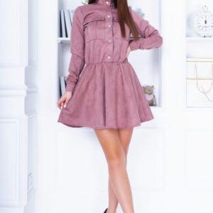Купить закрытое женское замшевое платье цвета мокко с длинным рукавом недорого