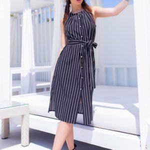 Купить черное летнее платье в полоску женское с открытыми плечами в Украине