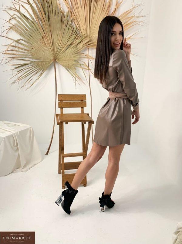 Купить цвета мокко кожаное платье женское с вельветовыми вставками недорого