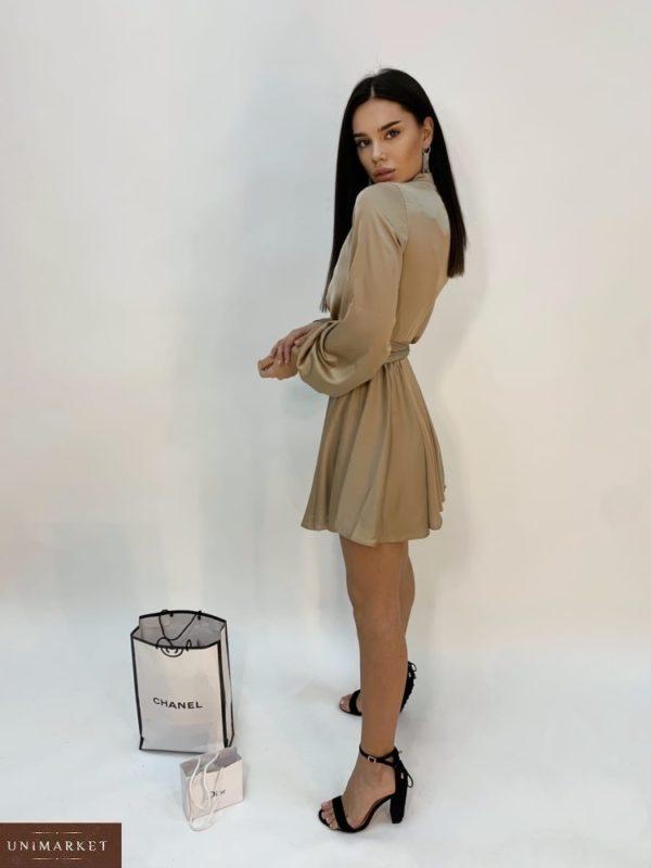 Приобрести бежевого цвета шелковое платье мини для женщин с длинным рукавом по низким ценам
