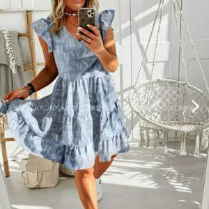Заказать онлайн голубого цвета женское принтованное летнее платье с рюшами (размер 42-56) по скидке
