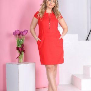 Приобрести лаконичное женское платье красного цвета из натурального льна (размер 42-56) в Украине онлайн