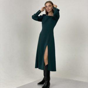 Купить платье миди зеленое с разрезом и длинным рукавом для женщин по низким ценам