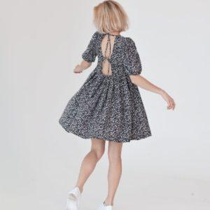Приобрести онлайн дешево женское свободное платье с открытой спиной (размер 42-48) черного цвета