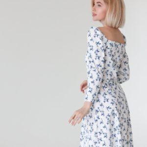 Заказать по скидке белое женское элегантное платье миди в цветочек (размер 40-50) в Украине