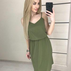 Заказать платье для женщин на бретельках цвета хаки из матового шелка для женщин