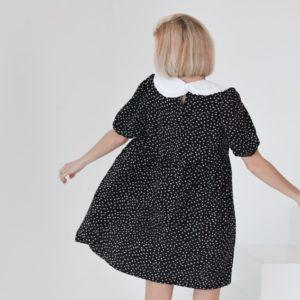 Приобрести недорого платье оверсайз женское в горошек с воротником (размер 42-58) черное
