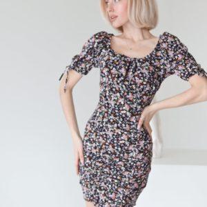 Купить выгодно женское облегающее платье мини черного цвета с цветочным принтом