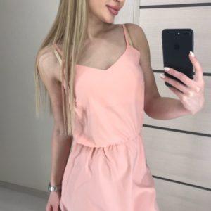 Заказать женское летнее платье цвета пудра из матового шелка на распродаже