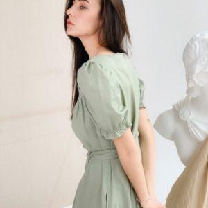 Приобрести онлайн оливкового цвета платье миди из льна для женщин с рукавами-фонариками в Украине