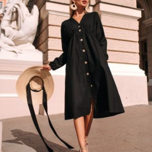 Заказать недорого черное свободное платье из стрейч льна (размер 42-48) для женщин