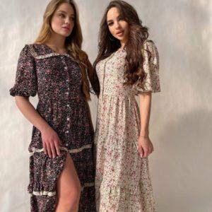 Заказать черное, беж женское цветочное платье-рубашка из штапеля в интернете