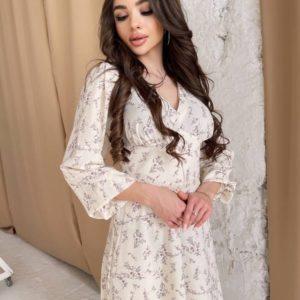 Заказать по скидке молочное весеннее платье из штапеля для женщин