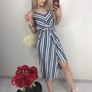 Приобрести серое асимметричное платье дешево в вертикальную полоску для женщин