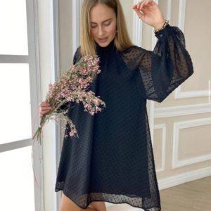 Заказать по скидке женское закрытое свободное платье мини в горошек черного цвета