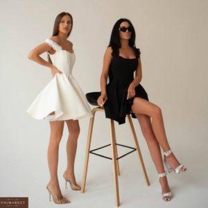 Приобрести по скидке женское корсетное платье с пышной юбкой солнце черное, молочное в Украине