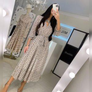 Заказать беж шифоновое женское платье миди в цветочный принт по низким ценам