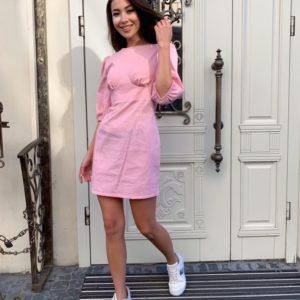 Купить недорого розового цвета платье мини из льна с рукавами-фонариками для женщин
